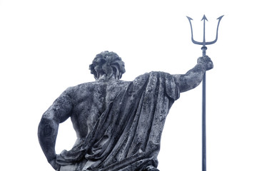 The ancient statue of god of seas and oceans Neptune (Poseidon) View from behind