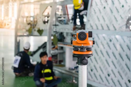 Construction surveyor equipment theodolite level tool during