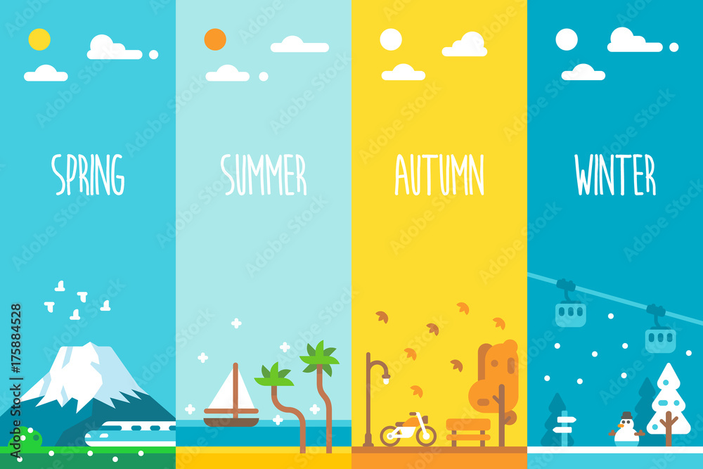Fototapety, obrazy: Flat design 4 seasons background