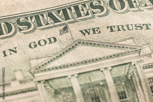 "The inscription ""In God We Trust"" on a twenty dollar bill of the USA Poster"