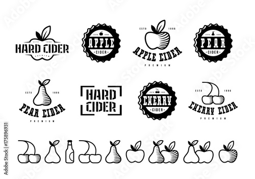 Canvas-taulu Set of hard cider label, logo and icons