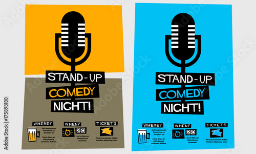Fotografia  Stand Up Comedy Night! (Flat Style Vector Illustration Performance Show Poster D
