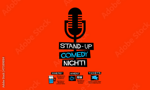 Fotografija  Stand Up Comedy Night! (Flat Style Vector Illustration Performance Show Poster D
