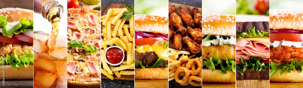 Fototapety, obrazy: collage of various fast food products
