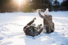 Beautiful Senior Couple In Sunny Winter Nature.