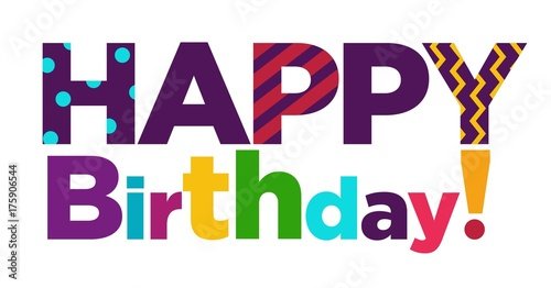 happy birthday color font text lettering vector template design for