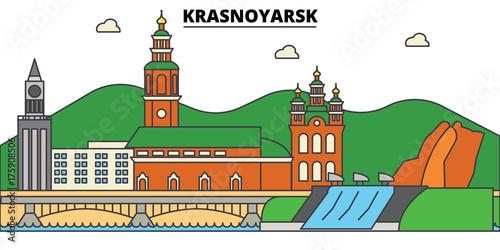 Fototapeta Russia, Krasnoyarsk. City skyline, architecture, buildings, streets, silhouette, landscape, panorama, landmarks. Editable strokes. Flat design line vector illustration concept. Isolated icons obraz