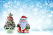 Christmas New Year Holiday with Santa Claus and Tree on Snow Background with Copy Space for Put Your Text or Design with Logo