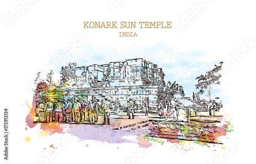 Watercolor sketch with splash of Konark Sun Temple India in vector illustration Fototapet