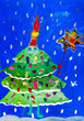 canvas print picture - Children's drawing. Green decorated Christmas tree