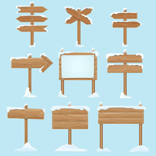 Cartoon Wooden Signs With Snow. Christmas Winter Holidays Vector Elements