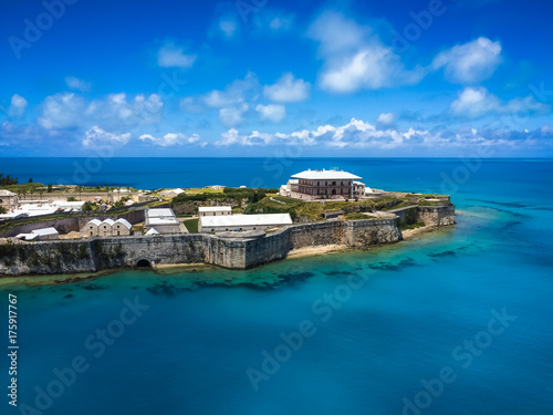 Aerial view of Royal Naval Dockyard, King's Wharf, Bermuda Canvas Print