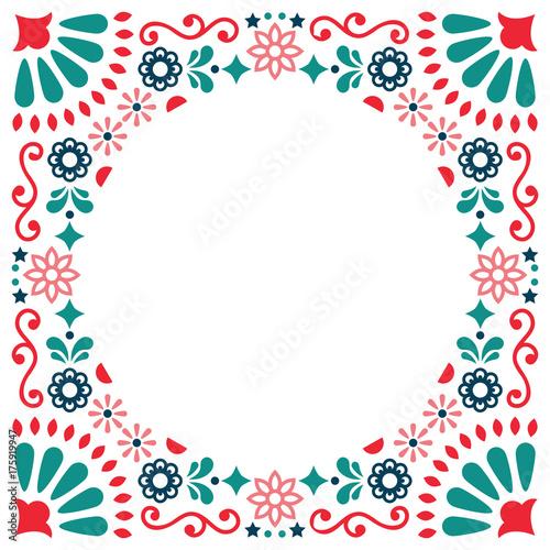 Mexican folk vector greeting card, wedding or party invitation decoration, flora Slika na platnu