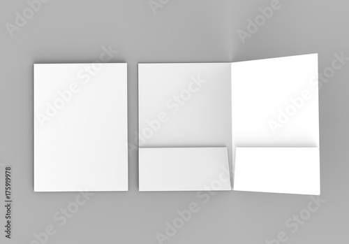 Blank white reinforced pocket folders on grey background for mock up Canvas-taulu