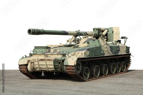 Photo Old green artillery field cannon gun