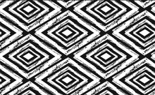 Hand Drawn Seamless Tribal Pattern In Black And Cream. Modern Textile, Wall Art, Wrapping Paper, Wallpaper Design.