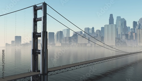 modern city with a bridge across the bay, a bridge at sunrise in the background of the city, 3d rendering