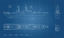 Blueprint Of Military Ship. To...
