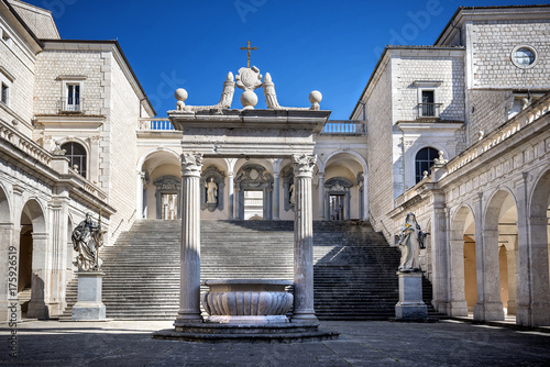 Photo Montecassino, ITALY - FEBRUARY 14, 2017: Interior of the Abbey at Montecassino, The abbey was destroyed by bombing in second World War and rebuilt