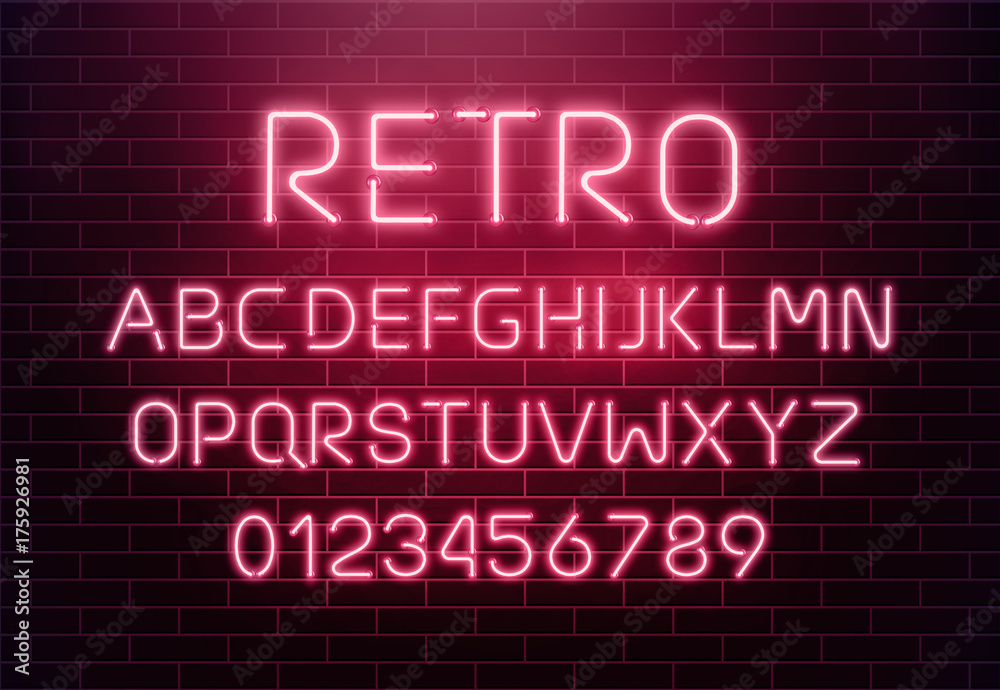 Fototapeta Light neon font letter set. Bar sign vector type. Glowing casino and cinema red text alphabet on brick wall background. Retro background.