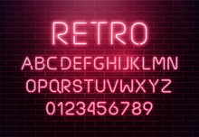Light Neon Font Letter Set. Bar Sign Vector Type. Glowing Casino And Cinema Red Text Alphabet On Brick Wall Background. Retro Background.