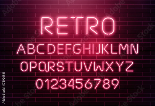 Valokuvatapetti Light neon font letter set