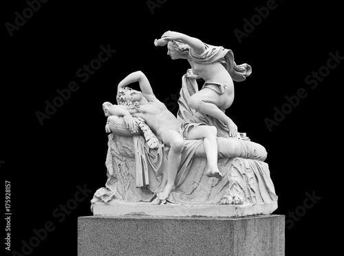 Obraz Cupid and Psyche - sculptural group on a black background. Summer garden in St. Petersburg - fototapety do salonu