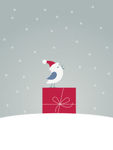 Merry Christmas Card Vector Template With Funny Message And Cute, Adorable Bird Singing In Snow And Standing On Christmas Present.