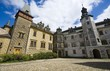 Courtyard of medieval Gothic and Renaissance style castle in Frydlant, Czech Republic