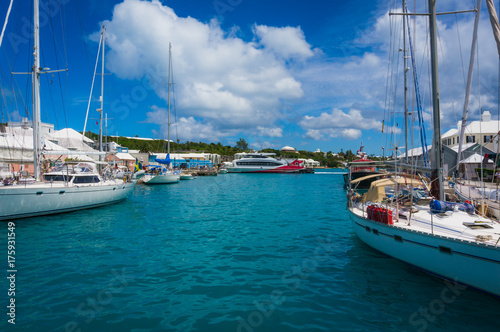 Yachts and sailboats docked in St George's harbor, Bermuda Canvas Print