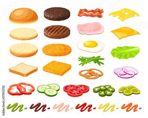 Set of ingredients for burger and sandwich Wallpaper Mural