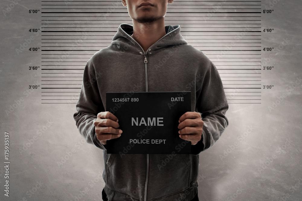 Fototapeta Mugshot of criminal