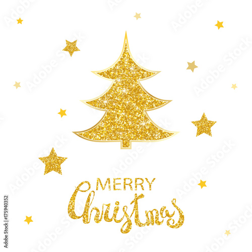 vector christmas abstract fir tree and shining golden stars glowing glitter background with stars and