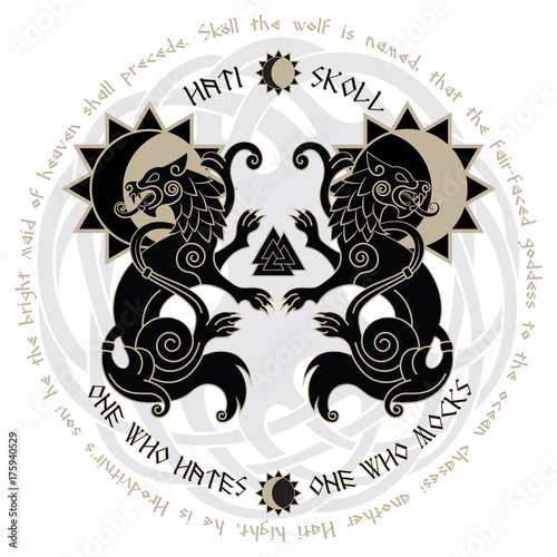 Photo  Two wolves from Norse mythology, Hati and Skoll devour the Sun and the Moon
