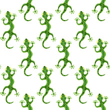 Seamless Pattern With Lizards ...