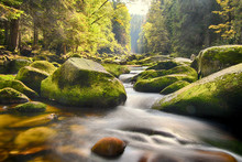 Long Exposure Of River Vydra In Bohemian Forest At Colourful Autumn, Sumava, Böhmerwald, Srni, Turnerova Chata