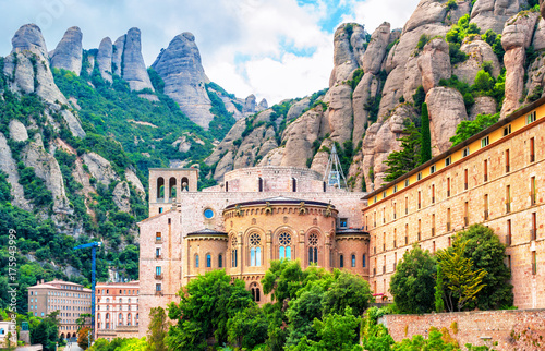 Santa Maria de Montserrat abbey, Catalonia Spain Canvas Print