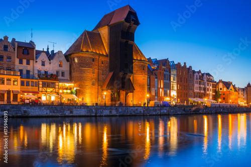 Fototapety, obrazy: Gdansk at night with historic port crane reflected in Motlawa river, Poland