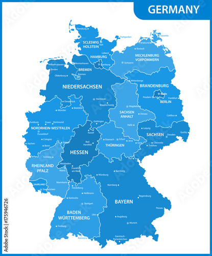 The detailed map of the Germany with regions or states and ...