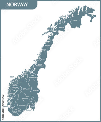 The detailed map of the Norway with regions Tablou Canvas