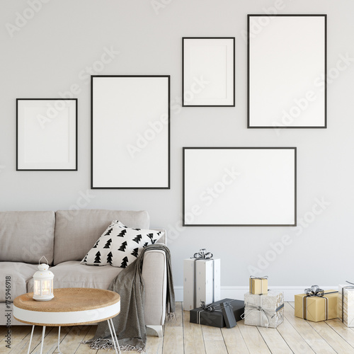 Plakat makiety plakaty w salonie Boże Narodzenie wnętrze. Wnętrze w skandynawskim stylu. 3d rendering, 3d ilustracja
