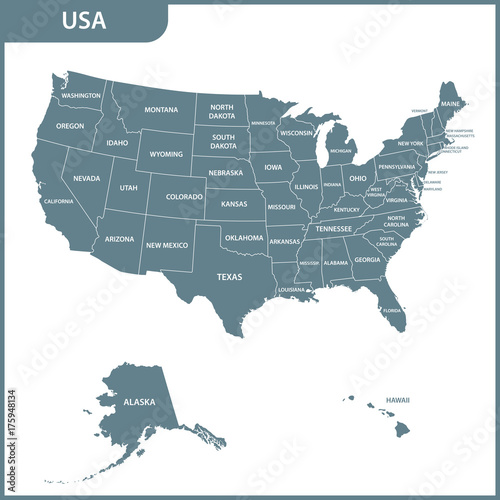 The detailed map of the USA with regions. United States of America ...