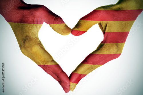 Valokuva  heart with the Catalan and the Spanish flags
