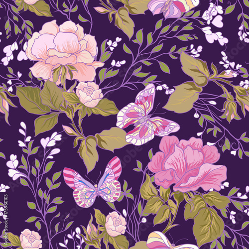 Türaufkleber Künstlich Roses and butterflies. Seamless pattern, background, in purple a