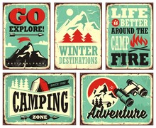 Retro Collection Of Winter Vacation Signs And Posters. Outdoor Activities Promotional Set Of Posters.