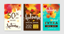 Colorful Autumn Poster Set. Fall Sale Background With Bright Maple Leaves