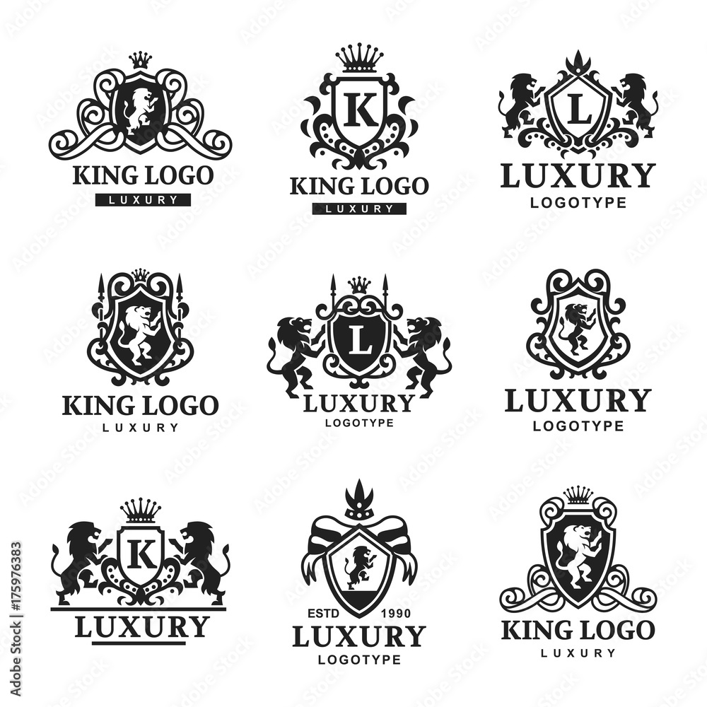 Fototapeta Luxury boutique Royal Crest high quality vintage product heraldry logo collection brand identity vector illustration.