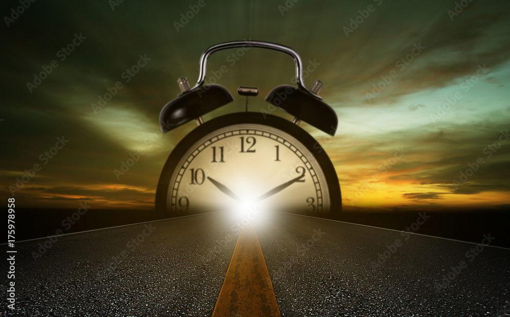 Time Management Concept Travel Clock on the Road