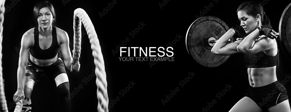 Fototapety, obrazy: Sporty and fit women with dumbbell and battle rope exercising at black background to stay fit. Workout and fitness motivation.