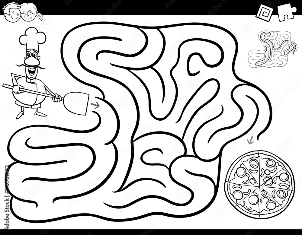 Fototapeta maze game coloring book with chef and pizza